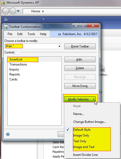 In the image, I right mouse clicked on the blue toolbar, opening the Microsoft Dynamics GP Toolbar Customization Window. I then chose the Main toolbar, the SmartList control that I added and clicked on Modify Selection. From here I can change the icon to text, text and an icon or image, plus more.