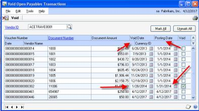 When you void a Microsoft Dynamics GP Payables check or transaction and you just click the box then the void button you'll be voiding in the GL and in Payables the same date the transaction was originally posted. This may or may not work for you.